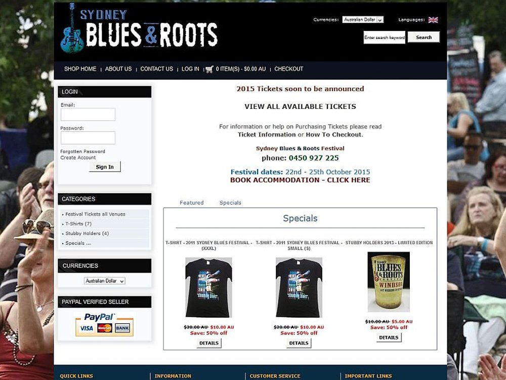 Sydney Blues and Roots Festival shop