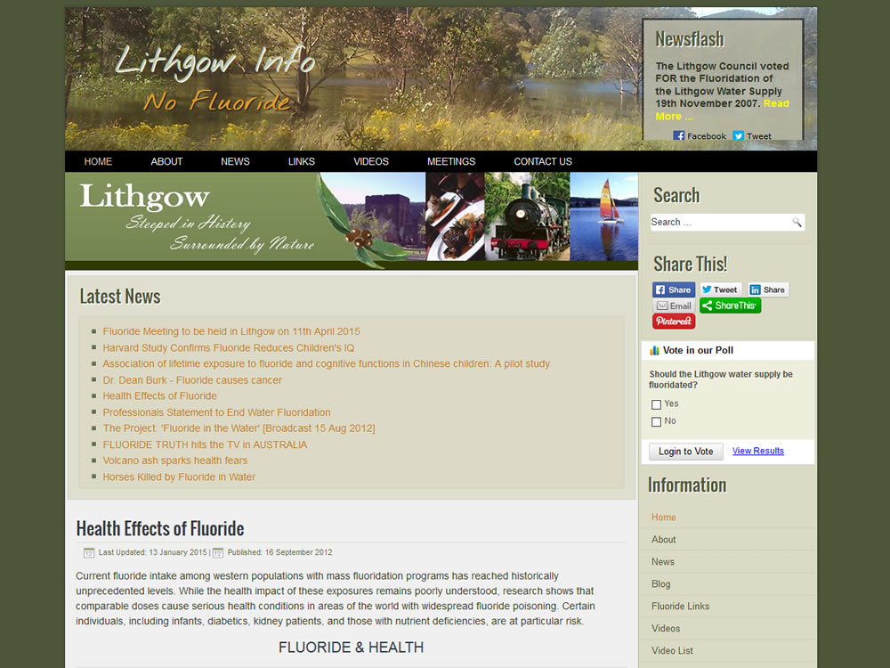 Lithgow Info - NO FLUORIDE